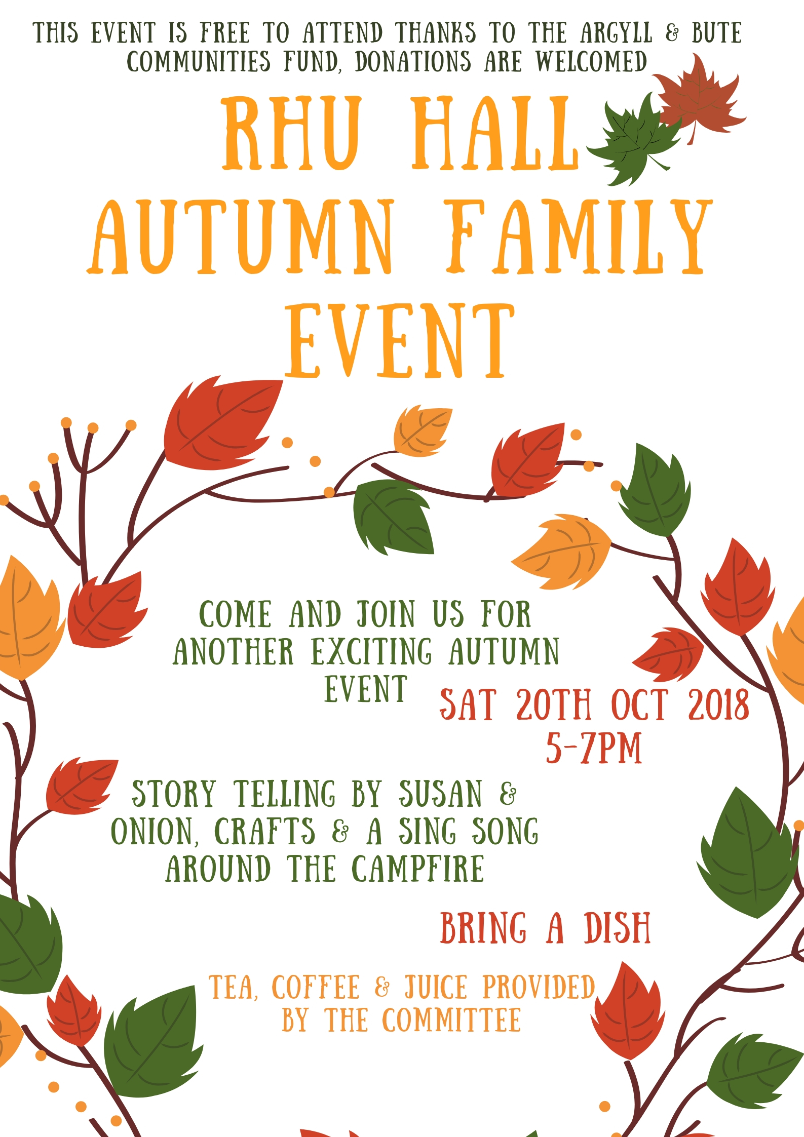 Free autumn family event on Sat October 20th 5-7pm  Story telling by susan and onon, crafts and singsong
